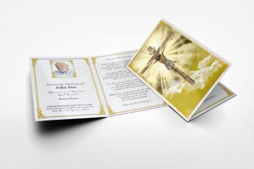 memorial card Jesus on the cross