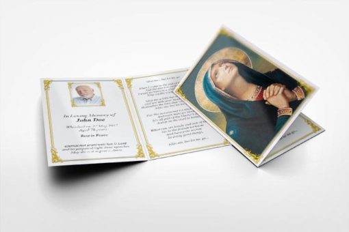 memorial card praying Mary